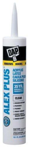 (Dap 18156 12 Pack 10.1 oz. Alex Plus Acrylic Latex Caulk Plus Silicone,)