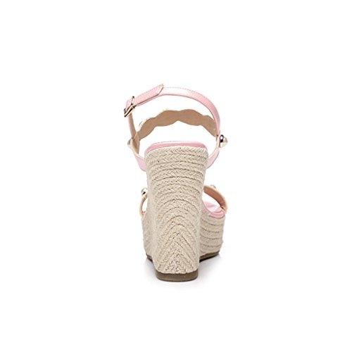 Tacco Tessere Perla Bianca Rosa Dimensioni Nuova Col colore Hy 34 Sandali Estate Moda Femminili Donna Pendenti Vintage Alto P0w086Tq