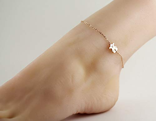 Wedding Party Sweet Plated 14k Rose Gold Color Foot Chain Anklet Ankle Bracelet Jewelry Women Girls Fashion Bear Rose Gold