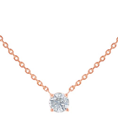 Olivia Paris 14k Rose Gold 3/4 Carat Round White Diamond Solitaire Necklace (F-G, VS2-SI1), 18