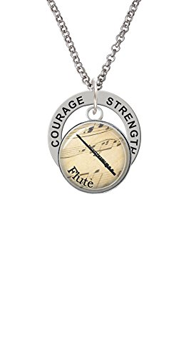 Courage Flute - Domed Music - Flute - Strength Wisdom Courage Affirmation Ring Necklace