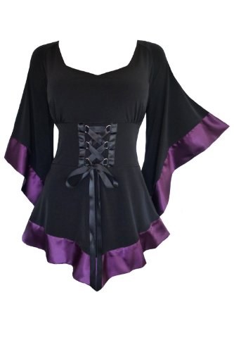 (Dare to Wear Victorian Gothic Boho Women's Plus Size Treasure Corset Top in Plum 4X)