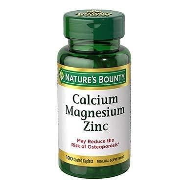 Nature's Bounty Calcium Magnesium Zinc Caplets, 100 Count (Pack of 3)
