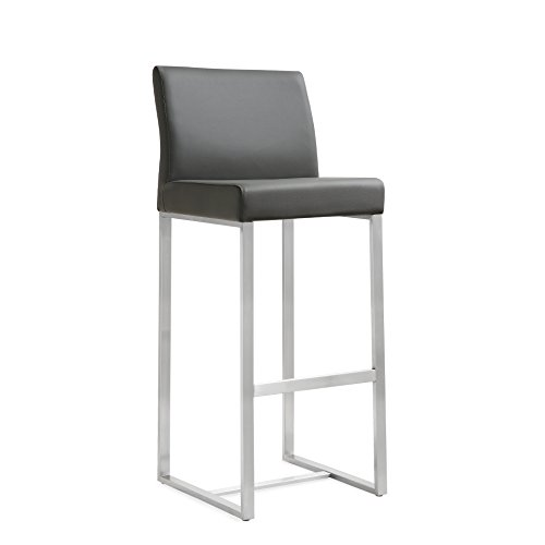 TOV Furniture The Denmark Collection Modern Style Eco-Leather Upholstered Stainless Steel Barstool (Set of 2), (Upholstered Metal Swivel Bar)