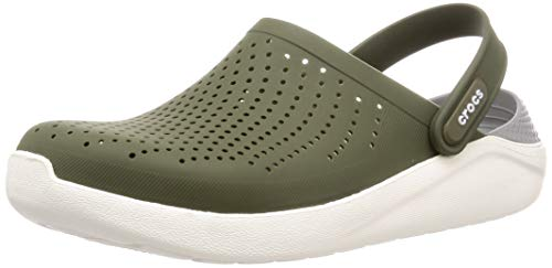 Crocs LiteRide Clog Shoe, Army Green/White, 8 US Women / 6 US Men M US