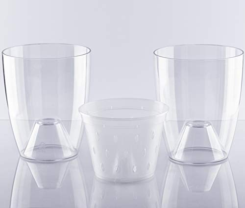 DAN Market 5.5 inch Orchid Plastic Clear Pots with Holes Set – Bundle of 2 Outer Clear Plastic Plant Planters for Orchids and 1 Inner 5.5 inch Orchid Slotted Clear Plastic Pot with Holes and Slots