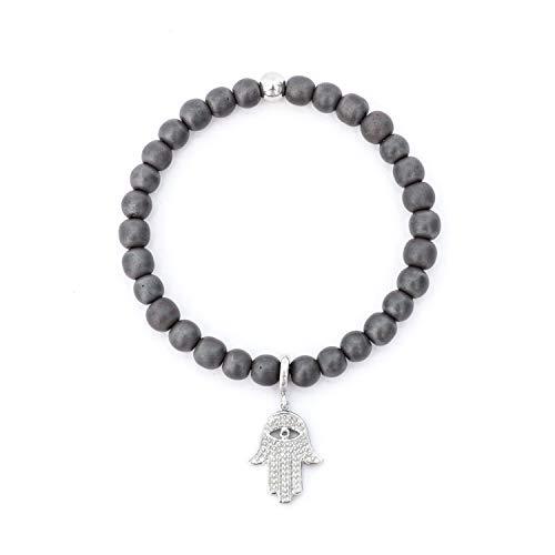 The Hamsa Hand Charm Beaded Bracelet for Women Natural Gemstones Studded CZ Stones 6mm Beads - Hematite