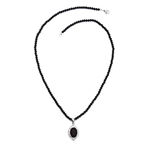 Shop LC Delivering Joy Black Tourmaline Pendant with Quartsite Bead Necklace 20