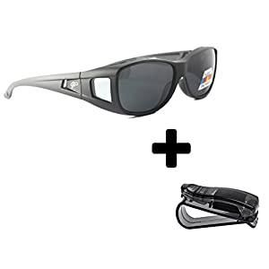 Fit Over Sunglasses Polarized Sunglasses to Wear Over Glasses plus car holder clip