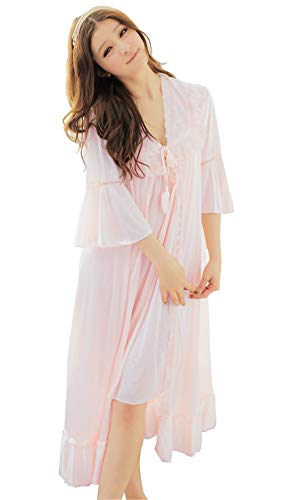 Peignoir Robe Nightgown - Camellia12 Fantastic Satin Robe Set Lace Chemise Full Slips with Victorian Robe (color: pink ,One size)