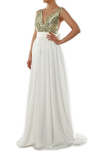 Ivory MACloth Evening Gown Wedding V Formal Gold Party Dress Light Neck Prom Long Women Sequin B6WBrvgT