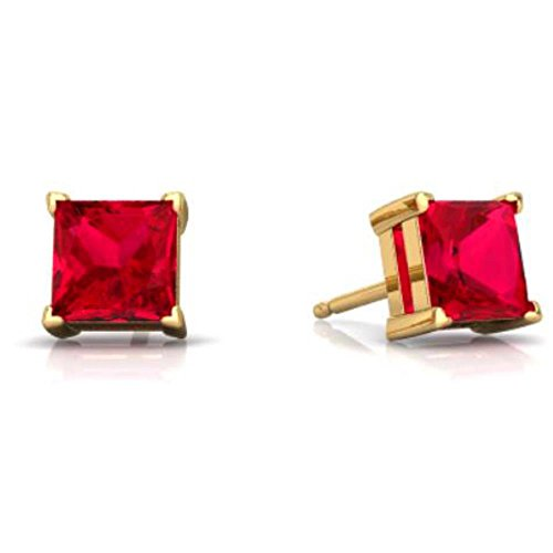 (Created Ruby Princess Cut Stud Earrings 14Kt Yellow Gold & Sterling Silver)