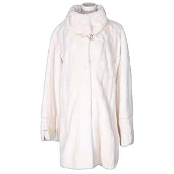 Costa White Fur Babydoll Coat For Women