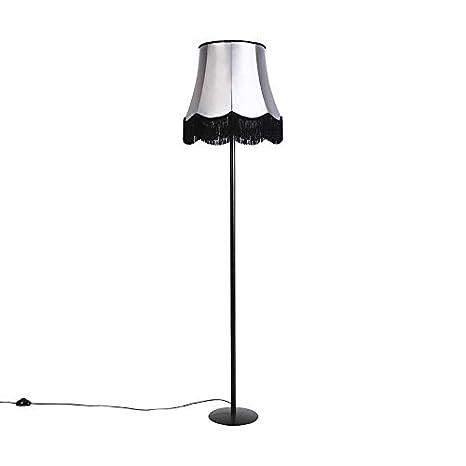 QAZQA Clásico/Antiguo Lámpara de pie negra con pantalla ...