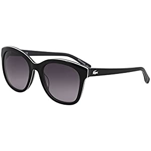 Lacoste Women's L819s Stripes and Piping Cateye Sunglasses, Black, 54 mm