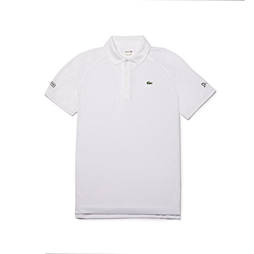 Lacoste Men's Ultra Dry Pique with Jacquard Collar Polo, DH3884, White, X-Large