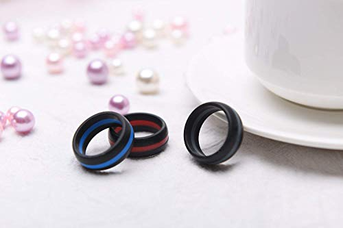 81f86eae25007 Silicone Wedding Rings Men, Singles Silicone Rubber Bands, Thin Striped  Line, Flexible Safe to Finger, Perfect Sports Exercises, 9 mm  Wide,11(20.70mm)