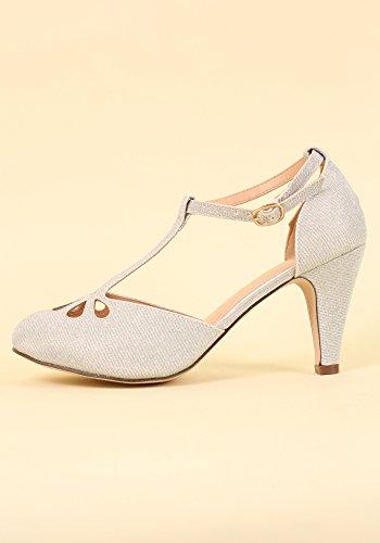 Chase & Chloe Kimmy-36 Damen Teardrop Ausgeschnittene T-Strap Mid Heel Pumps Silberner Glitter