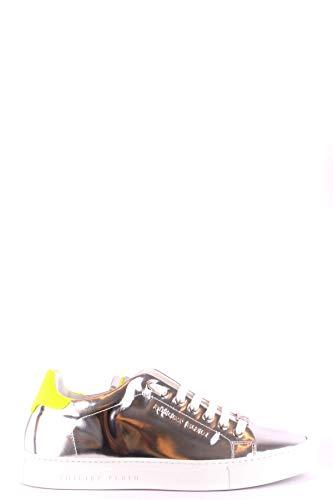 Plein Mujer Philipp Mcbi46118 Plata Cuero Zapatillas fFxxwq