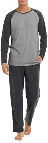 DAVID ARCHY Men's Cotton Sleepwear Long Sleeve Top and Bottom Pajama