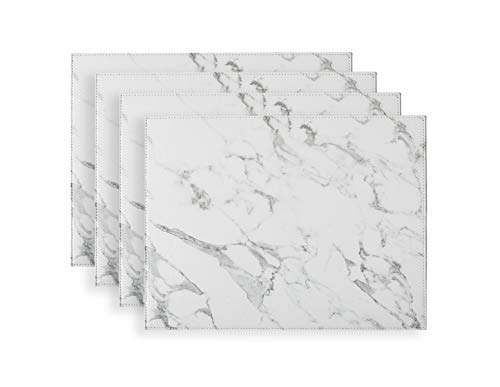 Marble Faux Leather - Placemats set of 4 Firm Faux Leather PU, 16