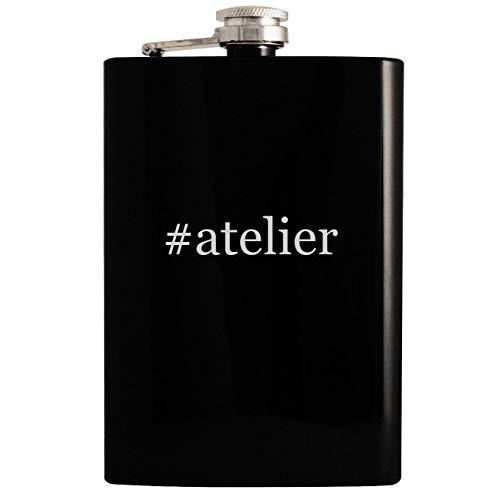 - #atelier - Black 8oz Hashtag Hip Drinking Alcohol Flask