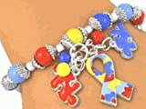 Silver Finish Autism Awareness Stretch Charm Bracelet #5176