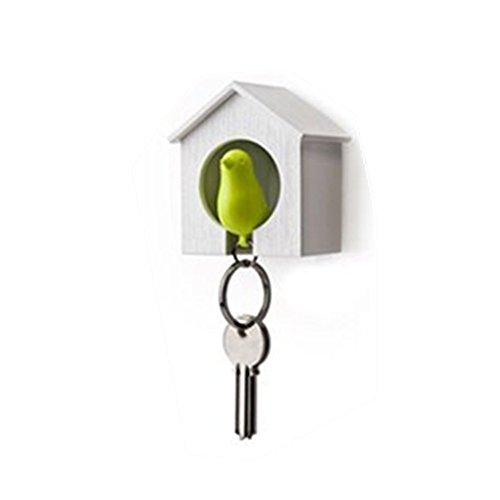 AKOAK White Mini Birdhouse and Green Bird Keychain,Bird is a Safety Whistle
