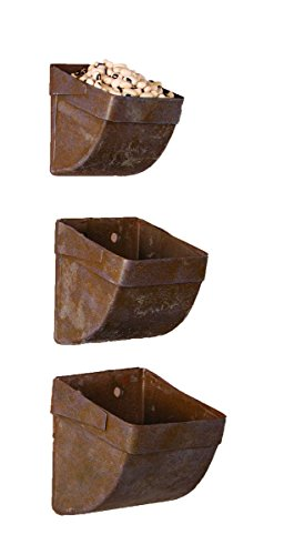 Ohio Wholesale 3 Pc Set Rustic Metal Wall Container Boxes by Ohio Wholesale