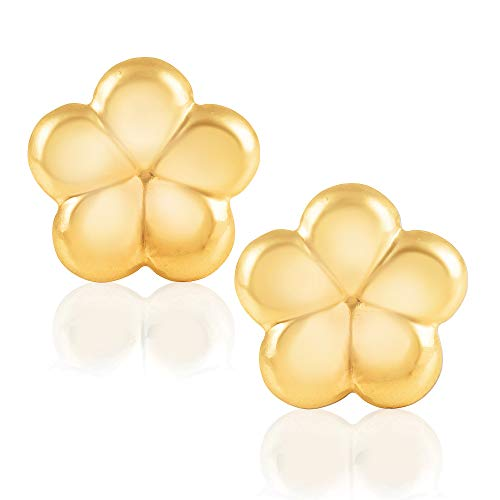 14KT Yellow Gold Flower Children's and Baby Girls Stud Earrings Version Two – Charming with Secure Screw Back Safety Closure ()