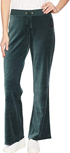 - Juicy Couture Women's Velour Royal Crest Del Rey Pants Dark Ivy Medium 31