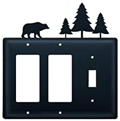 Eggs-83 Bear & Pine Trees Double Gfi & Switch Electric Cover