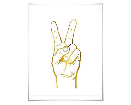 Peace Hand Sign Gold Foil Art Print. 7 Foil Colours/3 Sizes. Peace Symbol Poster. Political. Protest. Minimalist