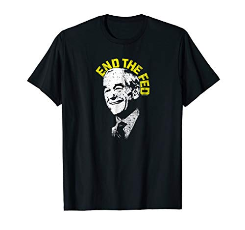 Mens Official Dr. Ron Paul End The Fed Libertarian T-Shirt Large Black