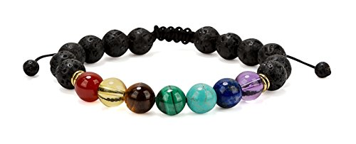Chakra Balancing Lava Diffuser Bracelet with Slider Opening Authentic Crystal Stones for Women | SPUNKYsoul Collection
