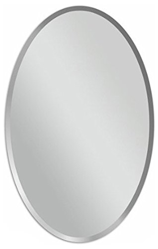 Oval Beveled Polish Frameless Wall Mirror With Hooks, 24u0026quot; ...