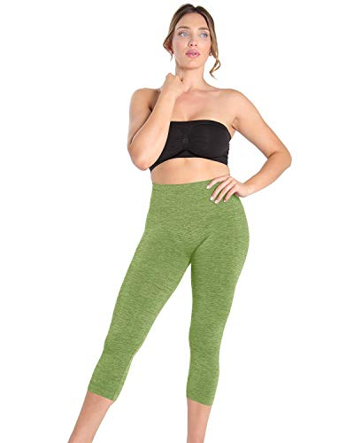 (SlimMe Women's Seamless High Waist Slimming Compression Legging Shaper,Cactus Spacedye,Small)