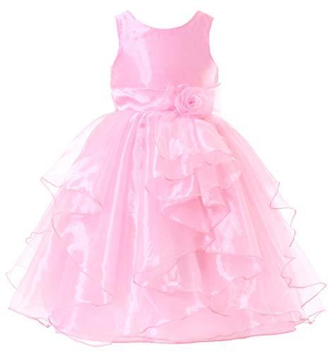 Bow Dream Flower Girl Dress Bridesmaid Organza Pink 6