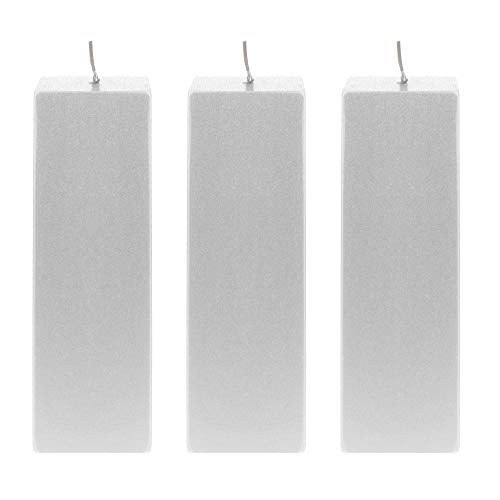 - Mega Candles 3 pcs Unscented Silver Square Pillar Candle | Hand Poured Premium Wax Candles 2