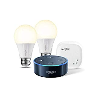 Echo Dot (2nd Generation) - Black with Element by Sengled 2 Bulb Kit
