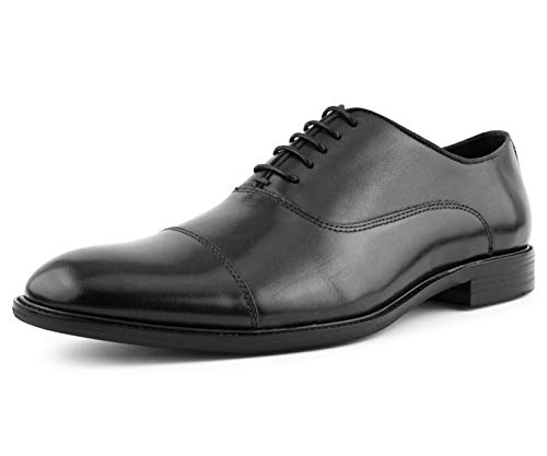 (Asher Green Mens Genuine Waxy Calf Leather Lace Up Cap Toe Oxford Dress Shoe, Style AG500 Wide FEET Should Size 1/2 A Size UP Black)