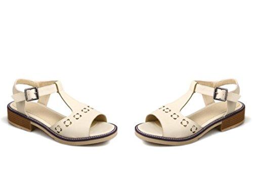 SHFANG Sandalias de las señoras verano simple ocio inferior plano sandalias de las mujeres cinturón de la hebilla del dedo del pie del rocío Beige