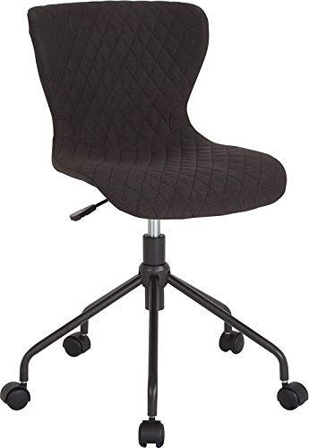 Contemporary Diamond Patterned Upholstered Task Chair with Black Metal Base - Includes Modhaus Living Pen (Black Fabric)