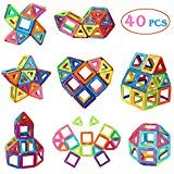 Manve Magnetic Tiles Building Blocks Toys, 40 Pcs Preschool Kids Educational Construction Toys Sets -