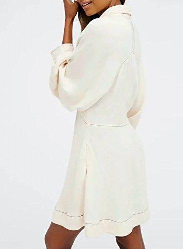 Azbro Mujer Vestido Mini Mangas Larga Linterna de Moda Blanco