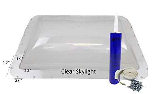 Class A Customs Premium Heavy Duty RV Camper Trailer Skylight - 18 x 26 OD / 14 x 22 ID Clear - Install Kit PCS