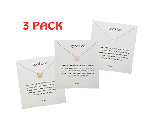 SEWEI Friendship Geometric Origami Elephant Necklace with Message Card Gift Card(3pack (3elephant)