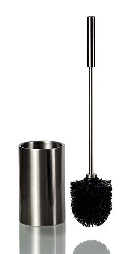with Holder – Premium Quality Stainless Steel Toilet Brush – Elegant and Modern Design – Ergonomic and Practical Handle – Durable Brush Bristles – Hygienic Double-Wall Holder ()