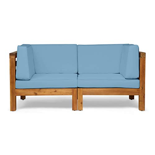 Great Deal Furniture Dawson Outdoor Sectional Loveseat Set – 2-Seater – Acacia Wood – Outdoor Cushions – Teak and Blue