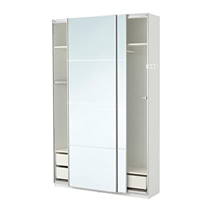 Ikea PAX Wardrobe, White, Auli Mirror Glass 2382.81723.1412